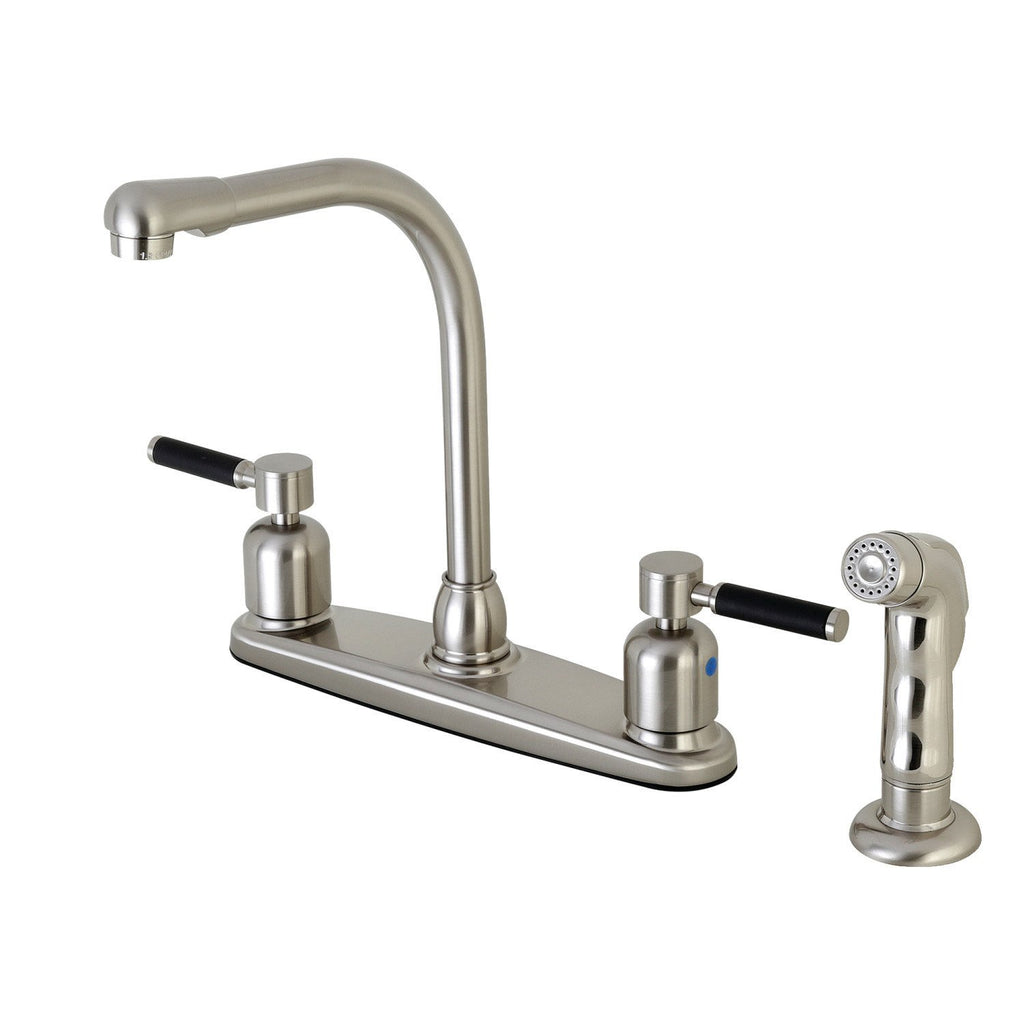 "Kaiser Two Handle 8"" Centerset 4-Hole Kitchen Faucet w/Metal Lever and Side Spray, 1.8 gpm"