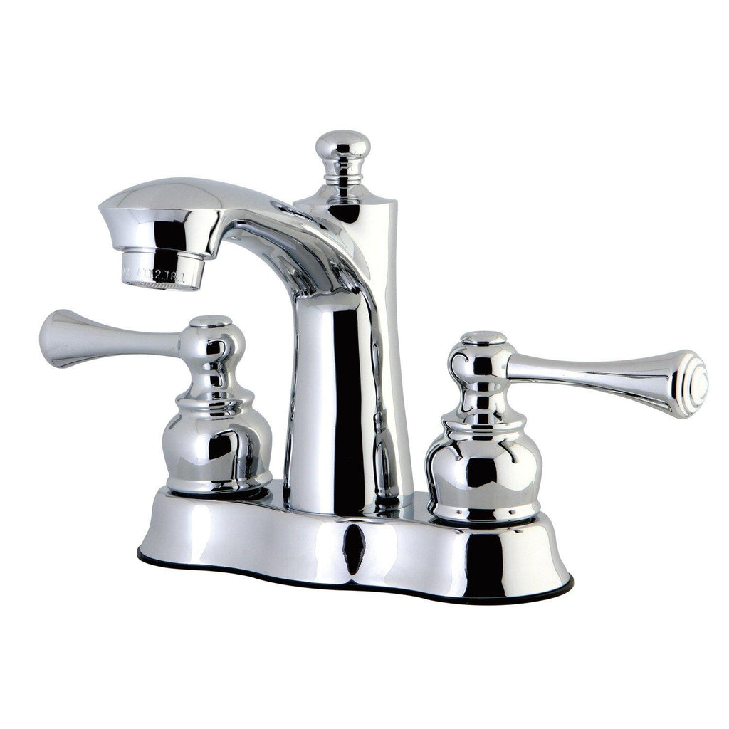 "Vintage Two Handle 4"" Centerset 3-Hole Bathroom Faucet w/Metal Lever - Includes Pop-Up Drain, 1.2 gpm"
