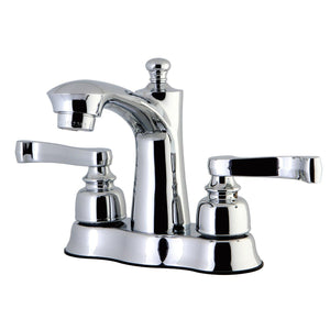"Royale Two Handle 4"" Centerset 3-Hole Bathroom Faucet w/Metal Lever - Includes Pop-Up Drain, 1.2 gpm"