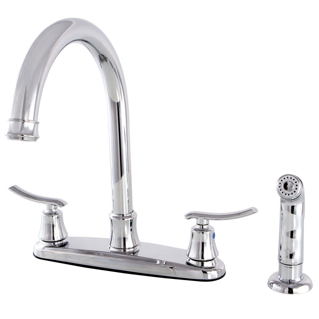 "Jamestown Two Handle 8"" Centerset 4-Hole Kitchen Faucet w/Metal Lever and Side Spray, 1.8 gpm"