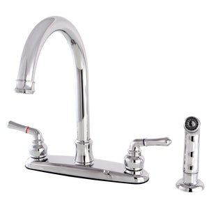 "Naples Two Handle 8"" Centerset 4-Hole Kitchen Faucet w/Metal Lever and Side Spray, 1.8 gpm"