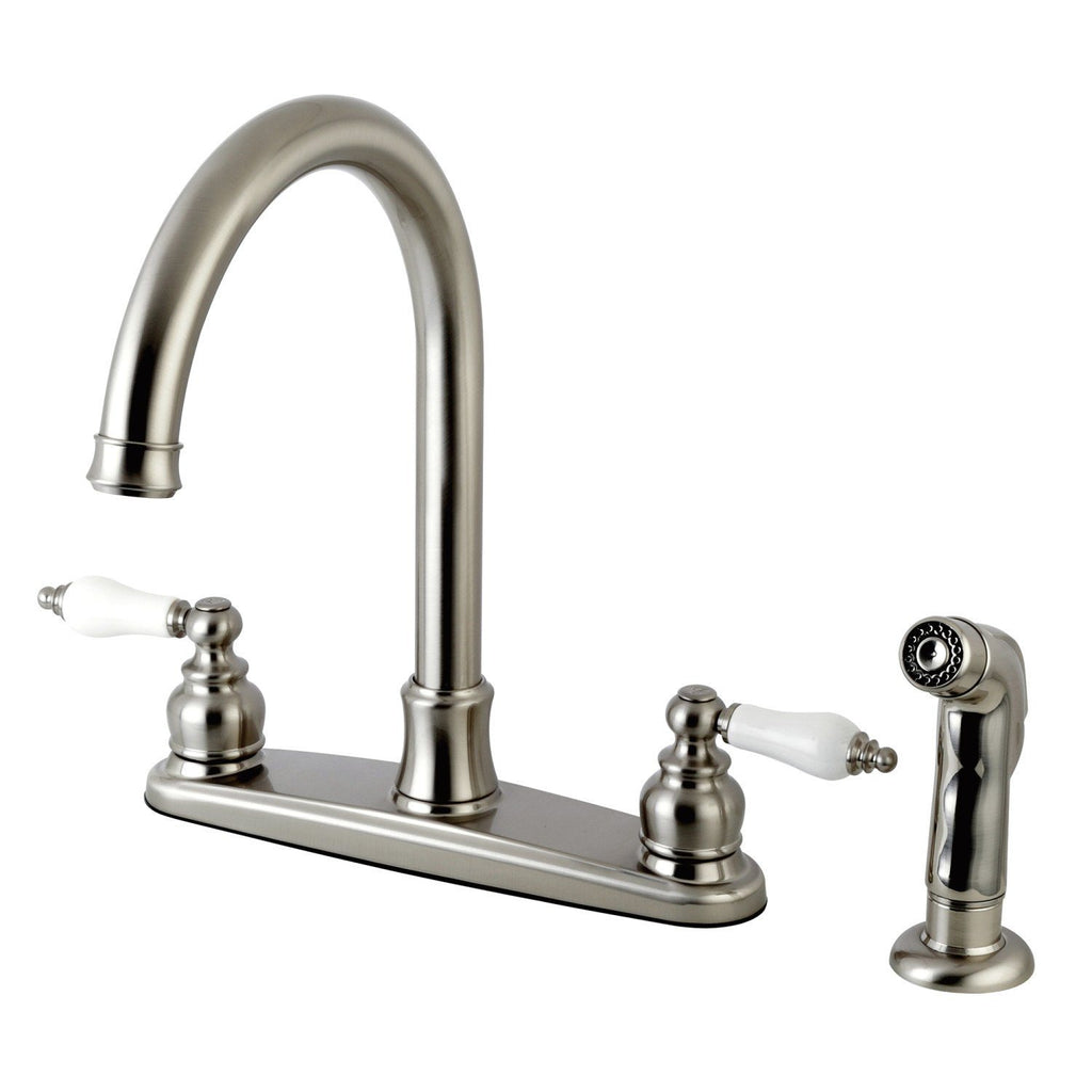 "Victorian Two Handle 8"" Centerset 4-Hole Kitchen Faucet w/Metal Lever and Side Spray, 1.8 gpm"
