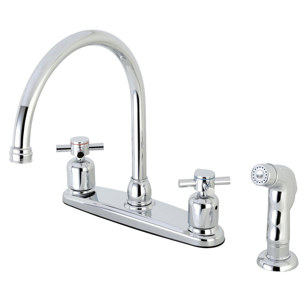 "Concord Two Handle 8"" Centerset 4-Hole Kitchen Faucet w/Metal Cross and Side Spray, 1.8 gpm"