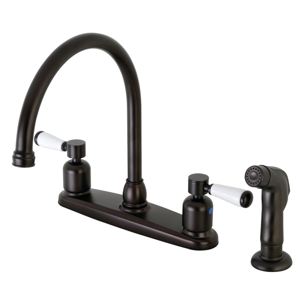 "Paris Two Handle 8"" Centerset 4-Hole Kitchen Faucet w/Porcelain Lever and Side Spray, 1.8 gpm"