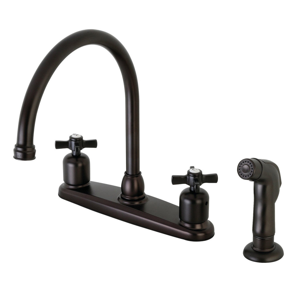 "Millennium Two Handle 8"" Centerset 4-Hole Kitchen Faucet w/Metal Cross and Side Spray, 1.8 gpm"
