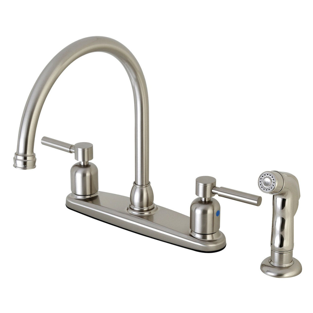 "Concord Two Handle 8"" Centerset 4-Hole Kitchen Faucet w/Metal Lever and Side Spray, 1.8 gpm"