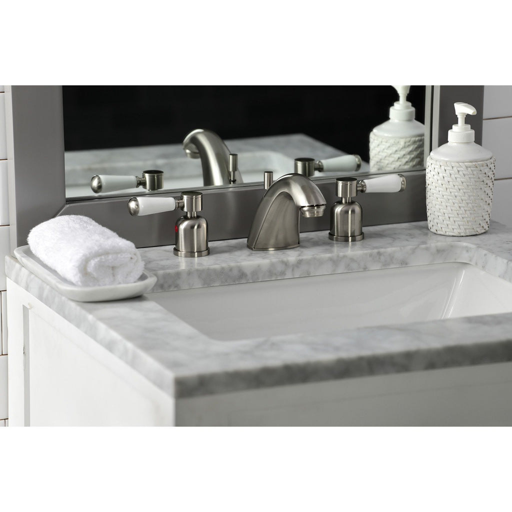 "Paris Two Handle 4"" Mini-Widespread 3-Hole Bathroom Faucet w/Porcelain Lever - Includes Pop-Up Drain, 1.2 gpm"