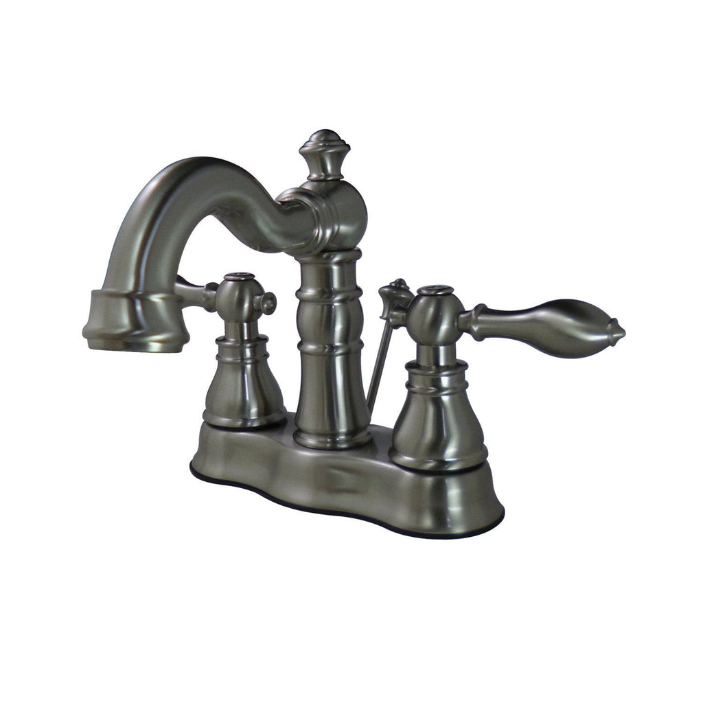 "American Classic Two Handle 4"" Centerset 3-Hole Bathroom Faucet w/Metal Lever - Includes Pop-Up Drain, 1.2 gpm"