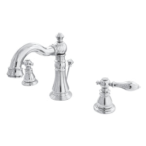 American Classic Two-Handle 3-Hole Deck Mount Widespread Bathroom Faucet with Brass Pop-Up