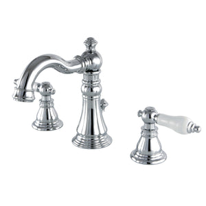"American Classic Two Handle 8-16"" Widespread 3-Hole Bathroom Faucet w/Porcelain Lever - Includes Pop-Up Drain, 1.2 gpm"