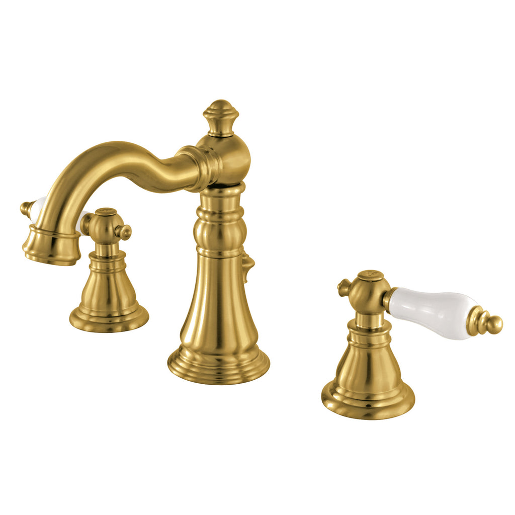 American Patriot Two-Handle 3-Hole Deck Mount Widespread Bathroom Faucet with Plastic Pop-Up