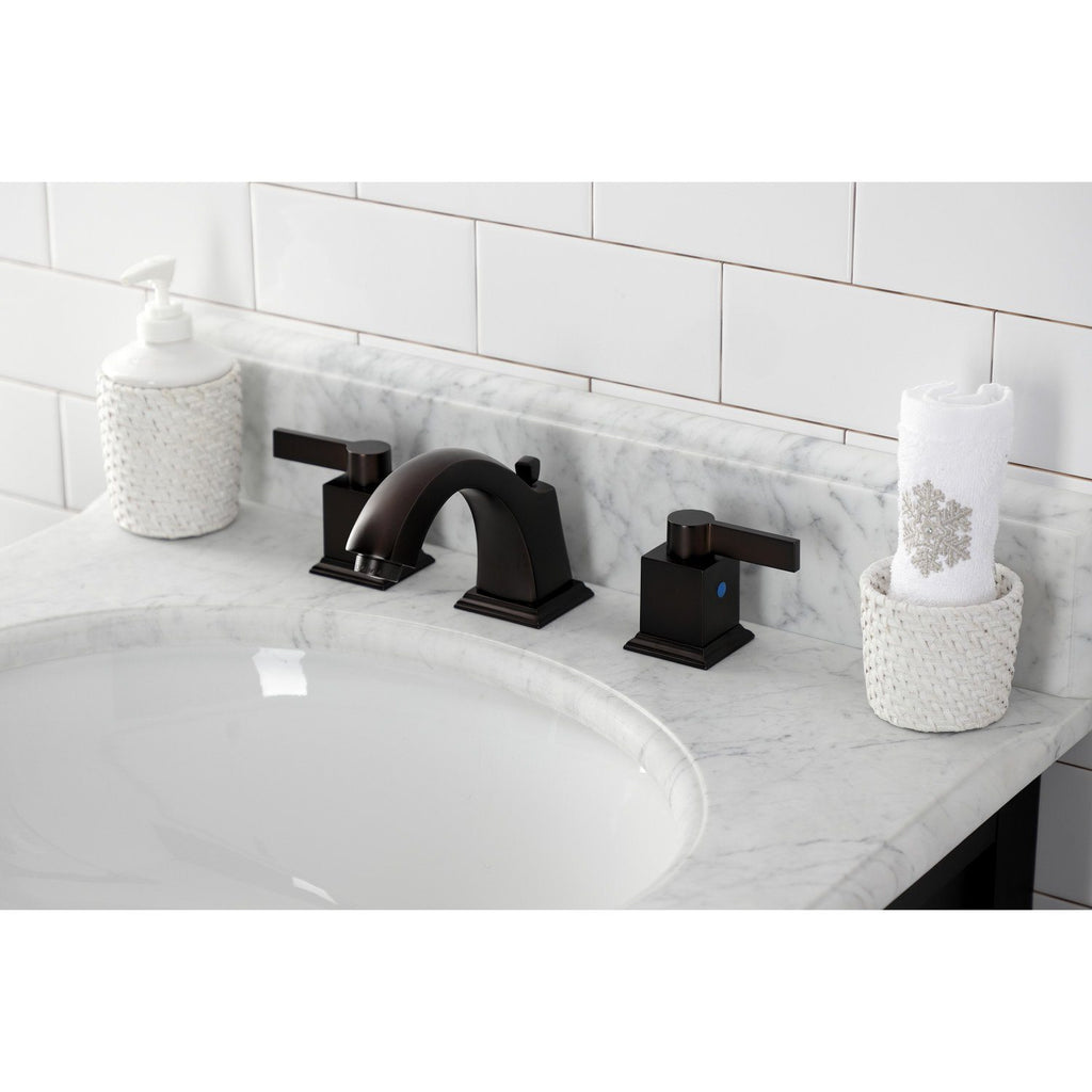 Meridian Two-Handle 3-Hole Deck Mount Widespread Bathroom Faucet with Plastic Pop-Up