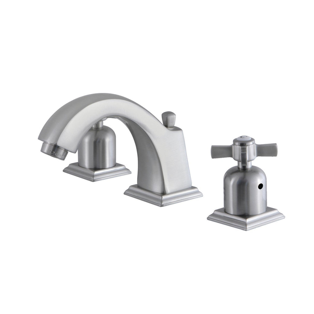 Millennium Two-Handle 3-Hole Deck Mount Widespread Bathroom Faucet with Plastic Pop-Up