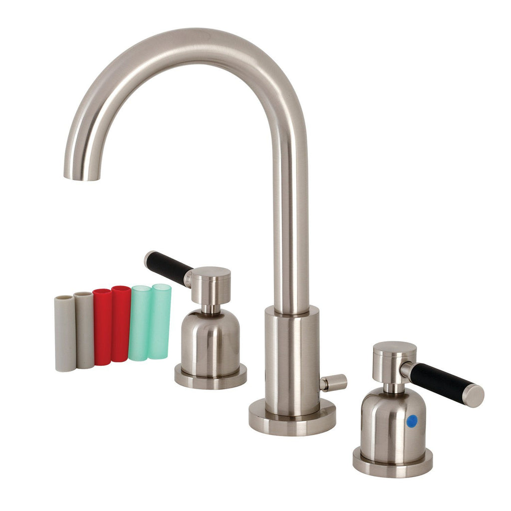"Kaiser Two Handle 8-16"" Widespread 3-Hole Bathroom Faucet w/Metal Lever - Includes Pop-Up Drain, 1.2 gpm"