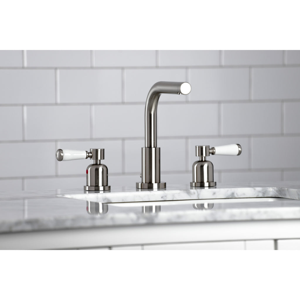 Paris Two-Handle 3-Hole Deck Mount Widespread Bathroom Faucet with Brass Pop-Up