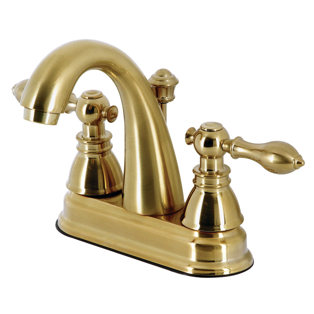 "American Classic Two-Handle 3-Hole Deck Mount 4"" Centerset Bathroom Faucet with Plastic Pop-Up"