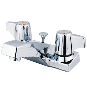 "Columbia Two Handle 4"" Centerset 3-Hole Bathroom Faucetw/Metal Canopy Handle - Includes Pop-Up Drain, 1.2 gpm"