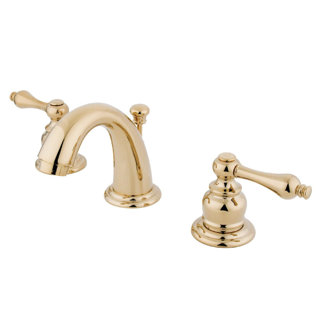 "English Country Two Handle 8-16"" Widespread 3-Hole Bathroom Faucet w/Metal Lever - Includes Pop-Up Drain, 1.2 gpm"