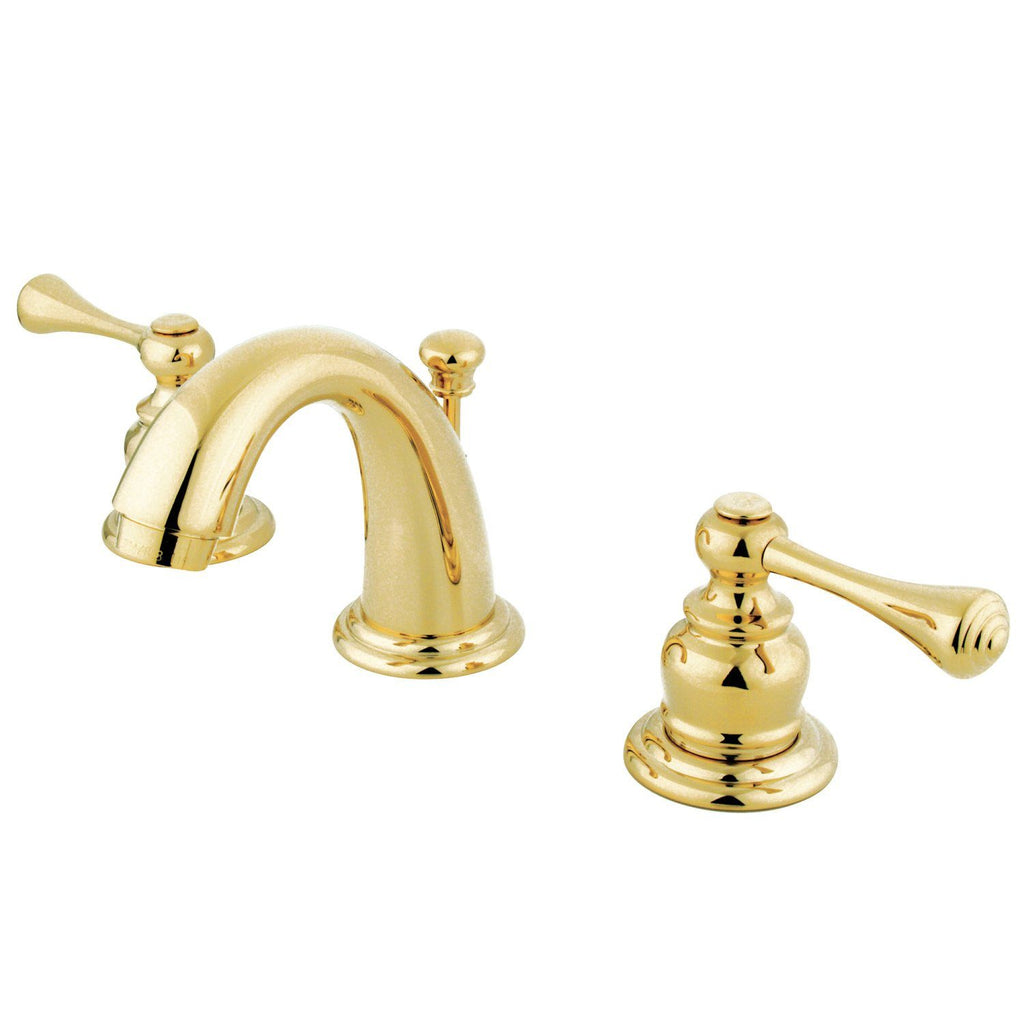 "Vintage Two Handle 8-16"" Widespread 3-Hole Bathroom Faucet w/Metal Lever - Includes Pop-Up Drain, 1.2 gpm"