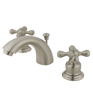 "Magellan Two Handle 4"" Mini-Widespread 3-Hole Bathroom Faucet w/Metal Cross - Includes Pop-Up Drain, 1.2 gpm"
