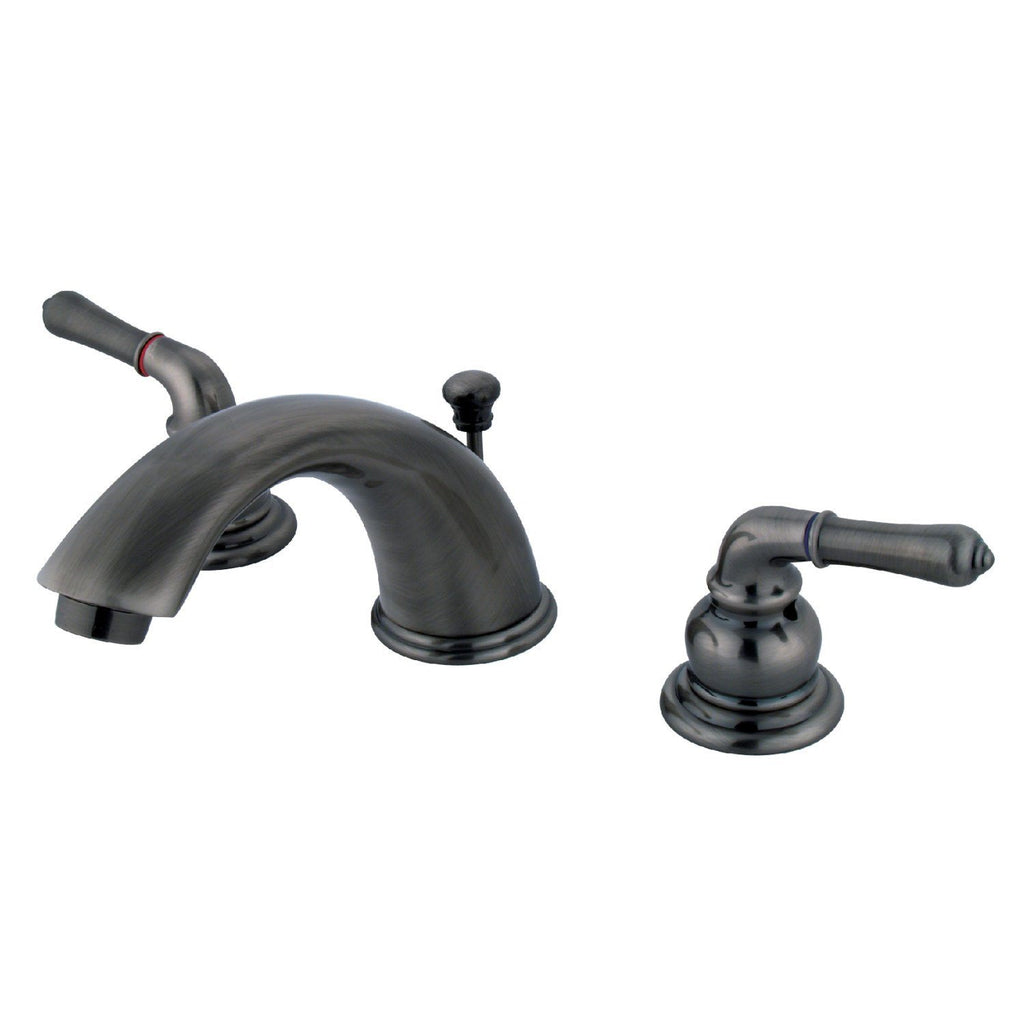 "Magellan Two Handle 8-16"" Widespread 3-Hole Bathroom Faucet w/Metal Lever - Includes Pop-Up Drain, 1.2 gpm"