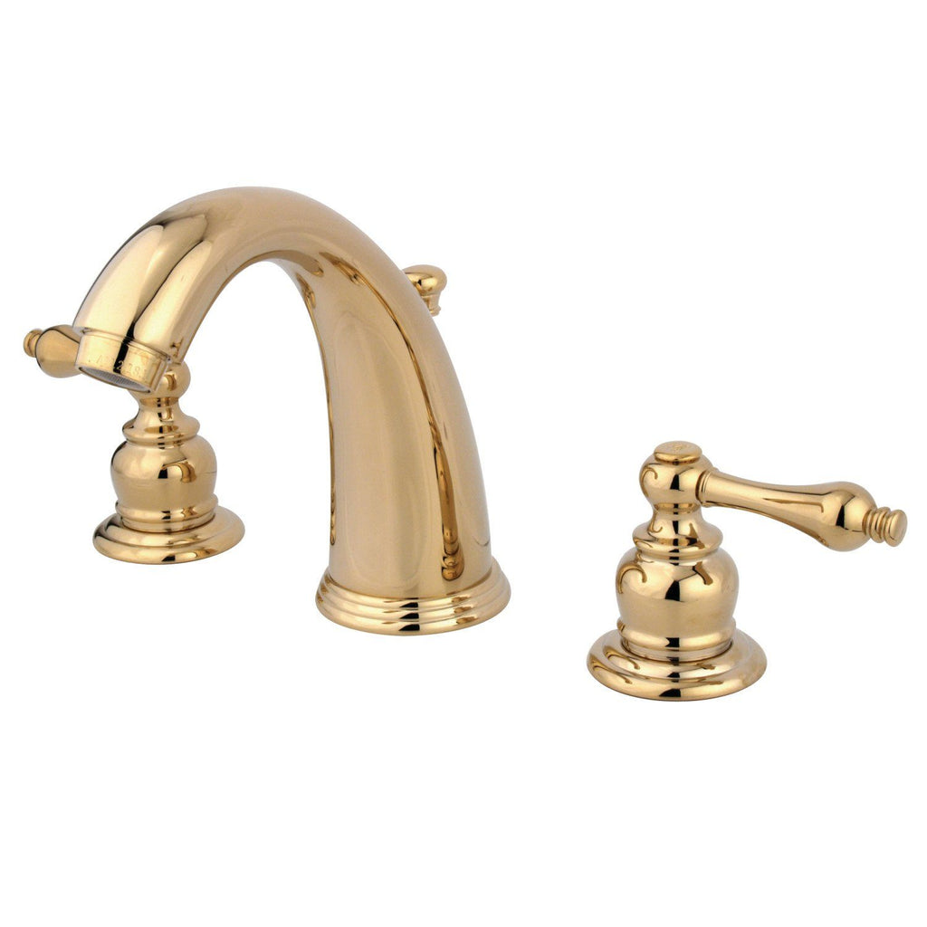 "Victorian Two Handle 8-16"" Widespread 3-Hole Bathroom Faucet w/Metal Lever - Includes Pop-Up Drain, 1.2 gpm"