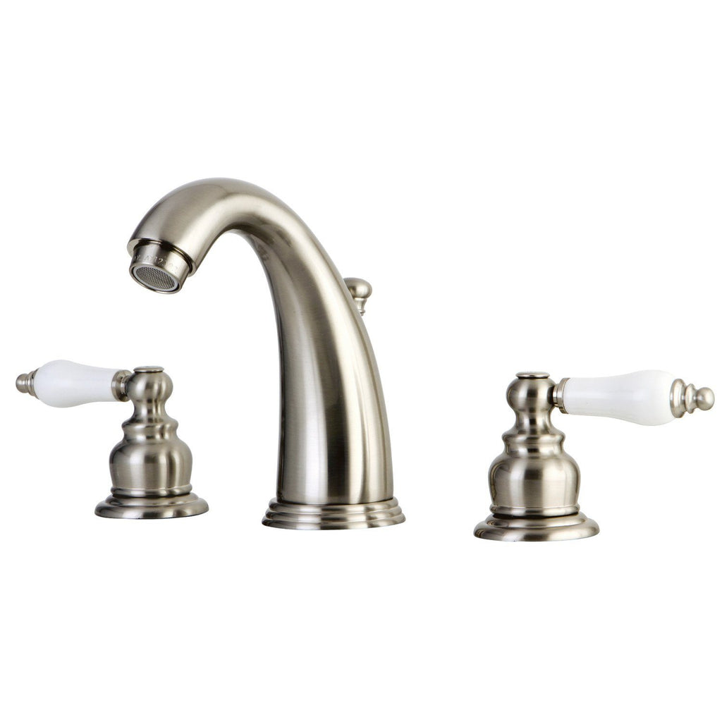 "English Country Two Handle 8-16"" Widespread 3-Hole Bathroom Faucet w/Pocelain Lever - Includes Pop-Up Drain, 1.2 gpm"