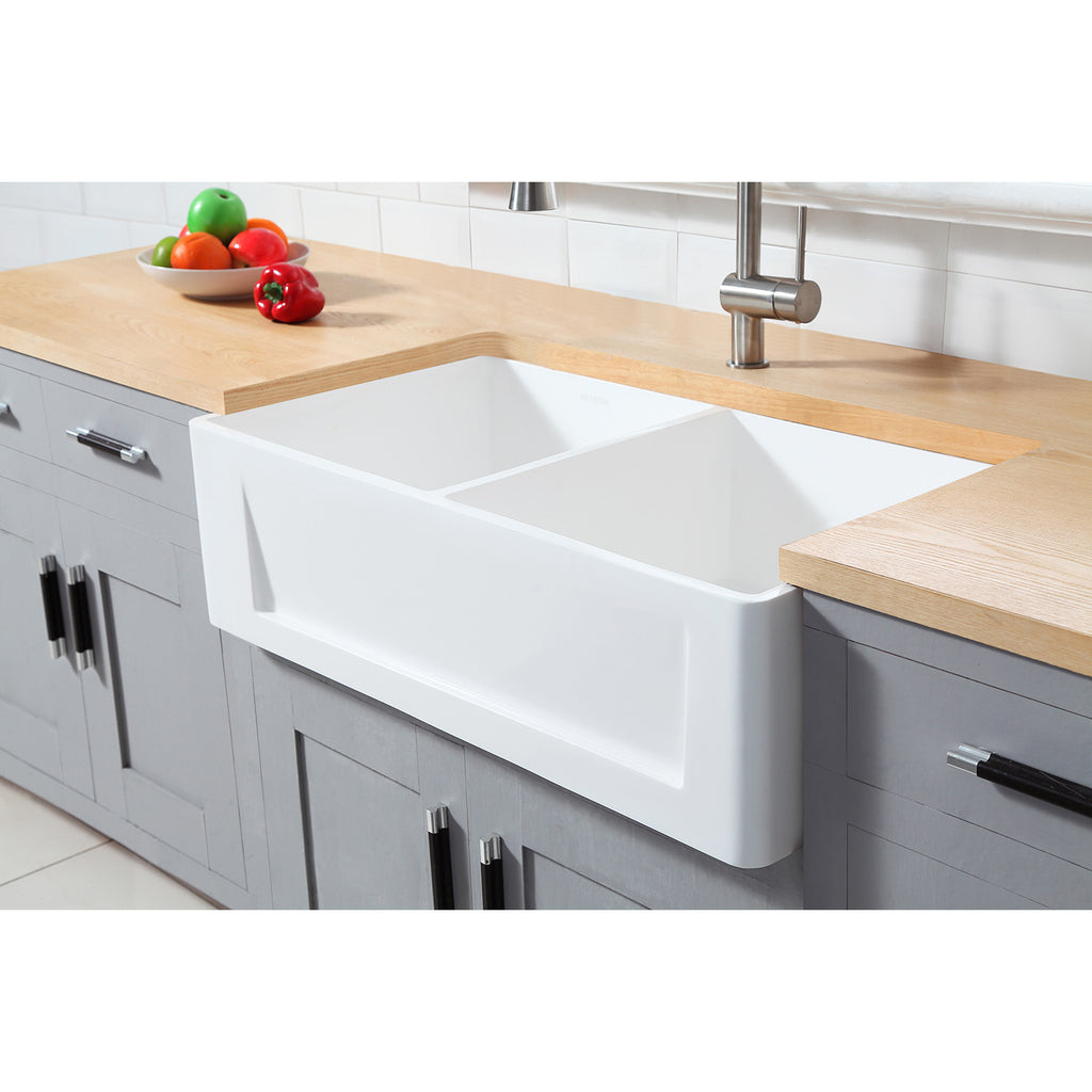 Arcticstone Solid Surface Double Bowl Farmhouse Kitchen Sink