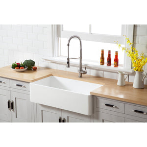 Arcticstone Solid Surface Matte Stone Apron Front Farmhouse Single Bowl Kitchen Sink