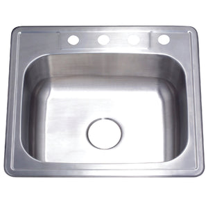 GKTS252210 Drop-in Single Bowl Kitchen Sink, Brushed