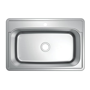 "Studio 33""x22""x9"" Self-Rimming Single Bowl Kitchen Sink (1 Hole)"