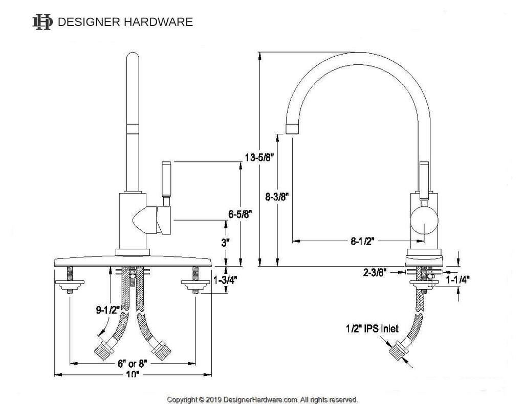 Kaiser Single Handle 1 or 3 Hole Kitchen Faucet w/Metal Lever and Optional Deck Plate, 1.8 gpm