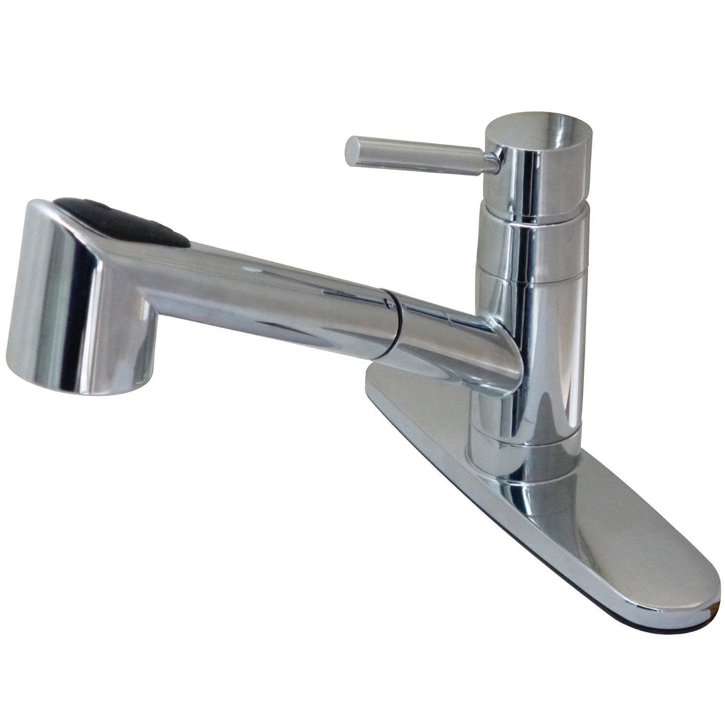 Wilshire Single Handle 1 or 3 Hole Pull-Out Spray Kitchen Faucet w/Metal Lever and Optional Deck Plate, 1.8 gpm
