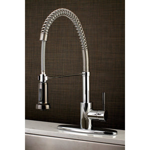 Kaiser Single Handle 1-or-3-Hole Pre-Rinse Pull-Down Spray Spring-Spout Kitchen Faucet w/Metal Lever and Optional Deck Plate, 1.8 gpm
