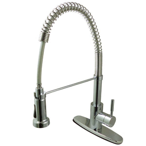Concord Single Handle 1-or-3-Hole Pre-Rinse Pull-Down Spray Spring-Spout Kitchen Faucet w/Metal Lever and Optional Deck Plate, 1.8 gpm