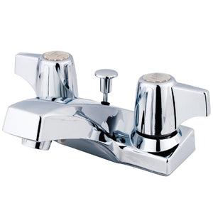 "Columbia Two Handle 4"" Centerset 3-Hole Bathroom Faucet w/Metal Canopy Handle - Includes Pop-Up Drain, 1.2 gpm"