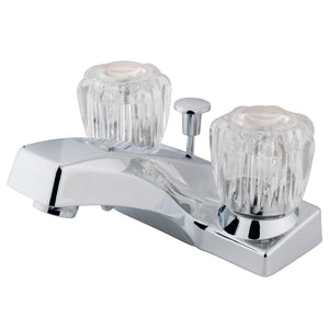 "Columbia Two Handle 4"" Centerset 3-Hole Bathroom Faucet w/Acrylic Knob- Includes Pop-Up Drain, 1.2 gpm"