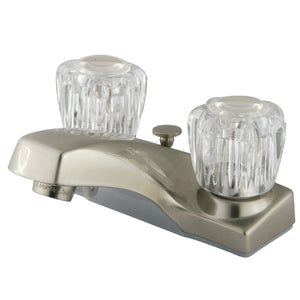"Columbia Two Handle 4"" Centerset 3-Hole Bathroom Faucet w/Acrylic Knob - Includes Pop-Up Drain, 1.2 gpm"