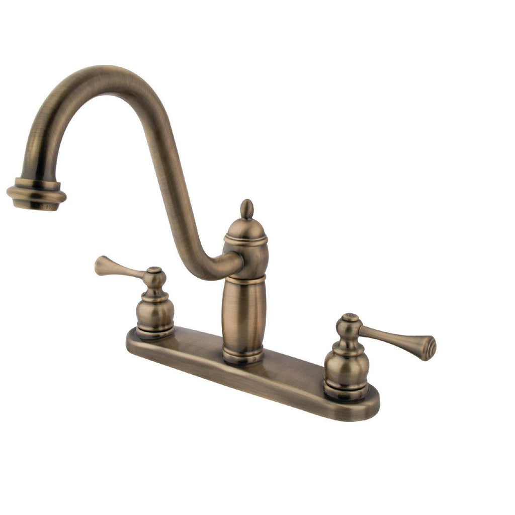 "Heritage Two Handle 8"" Centerset 3-Hole Kitchen Faucet w/Metal Lever, 1.8 gpm"