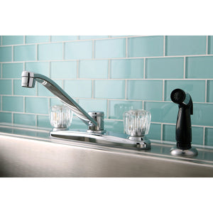 "Americana Two Handle 8"" Centerset 4-Hole Kitchen Faucet w/Acrylic Knob and Side Spray, 1.8 gpm"