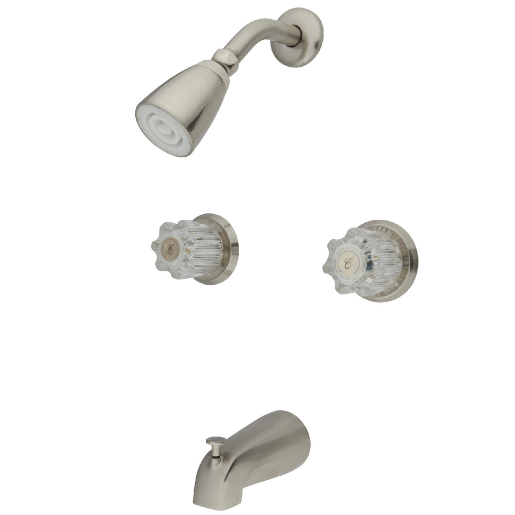 Americana Two Handle 4-Hole Tub and Shower Faucet w/Acrylic Knob, 1.5 gpm & 7 gpm