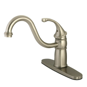Georgian Single Handle 1 or 3 Hole Kitchen Faucet w/Metal Lever and Optional Deck Plate, 1.8 gpm