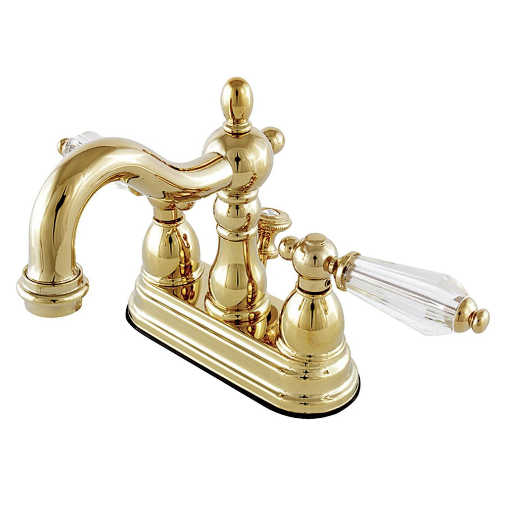 "Wilshire Two Handle 4"" Centerset 3-Hole Bathroom Faucet w/Crystal Lever - Includes Pop-Up Drain, 1.2 gpm"