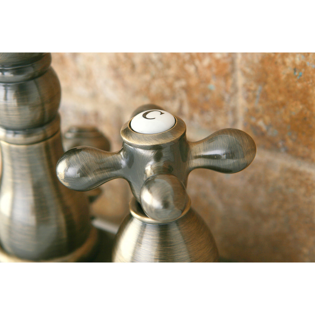 "Heritage Two-Handle 3-Hole Deck Mount 4"" Centerset Bathroom Faucet with Plastic Pop-Up"