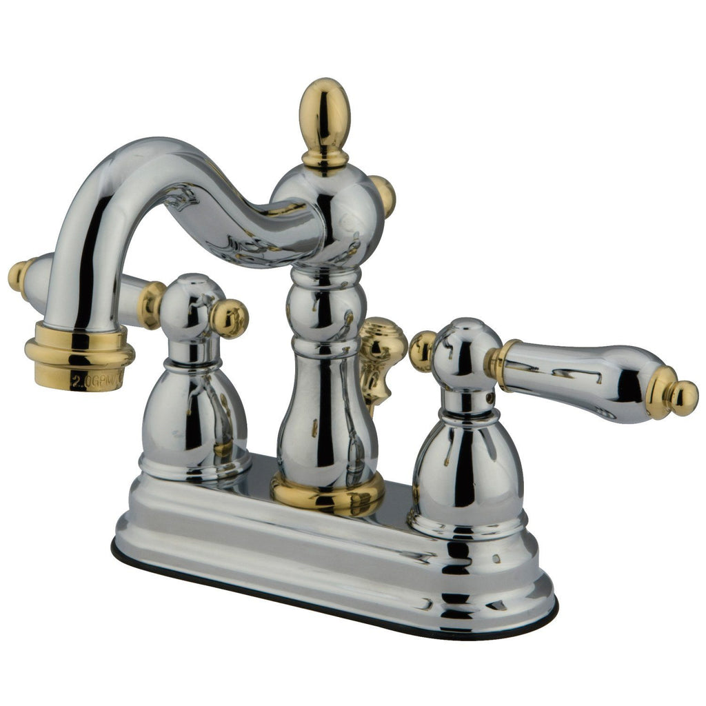 "Heritage Two Handle 4"" Centerset 3-Hole Bathroom Faucet w/Metal Lever - Includes Pop-Up Drain, 1.2 gpm"