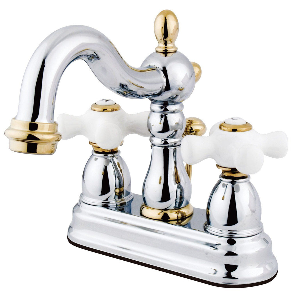 "Heritage Two Handle 4"" Centerset 3-Hole Bathroom Faucet w/Porcelain Cross - Includes Pop-Up Drain, 1.2 gpm"