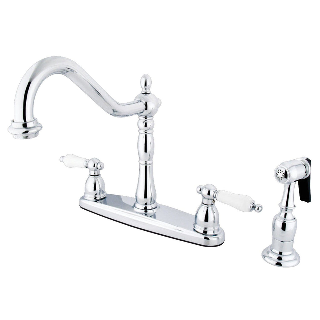 "Heritage Two Handle 8"" Centerset 4-Hole Kitchen Faucet w/Porcelain Lever and Side Spray, 1.8 gpm"