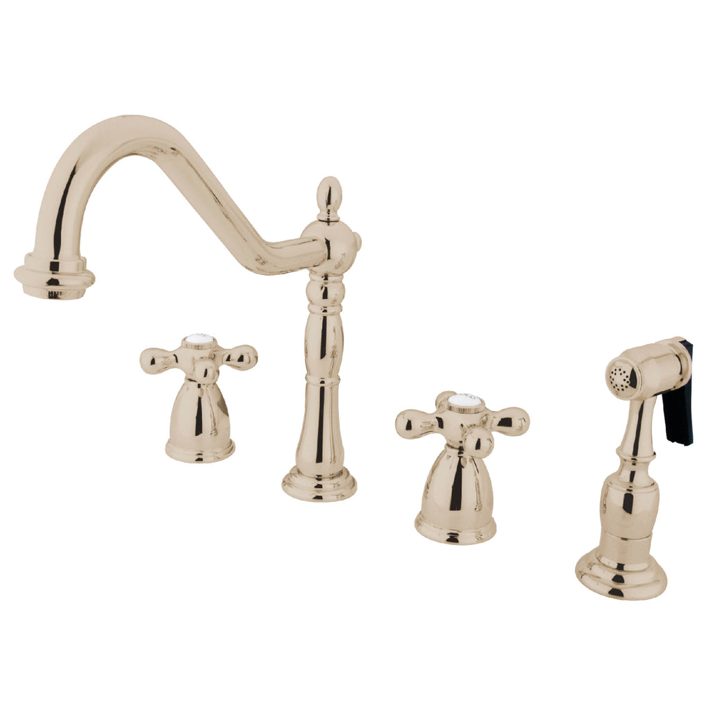 "Heritage Two Handle 8-16"" 4-Hole Widespread Kitchen Faucet w/Metal Cross and Side Spray, 1.8 gpm"
