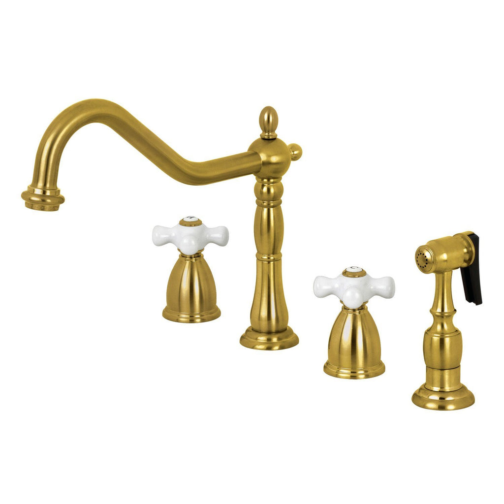 Heritage Two-Handle 4-Hole Deck Mount Widespread Kitchen Faucet with Brass Sprayer