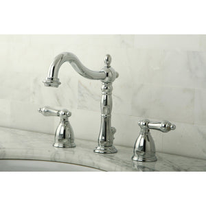 Heritage Two-Handle 3-Hole Deck Mount Widespread Bathroom Faucet with Plastic Pop-Up